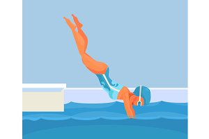 Sport pool. Woman character dives