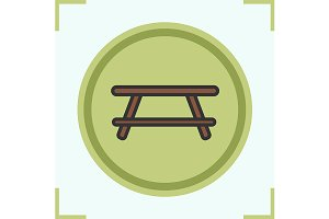 Camping table icon. Vector