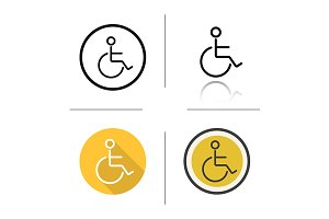 Wheelchair. 4 icons. Vector