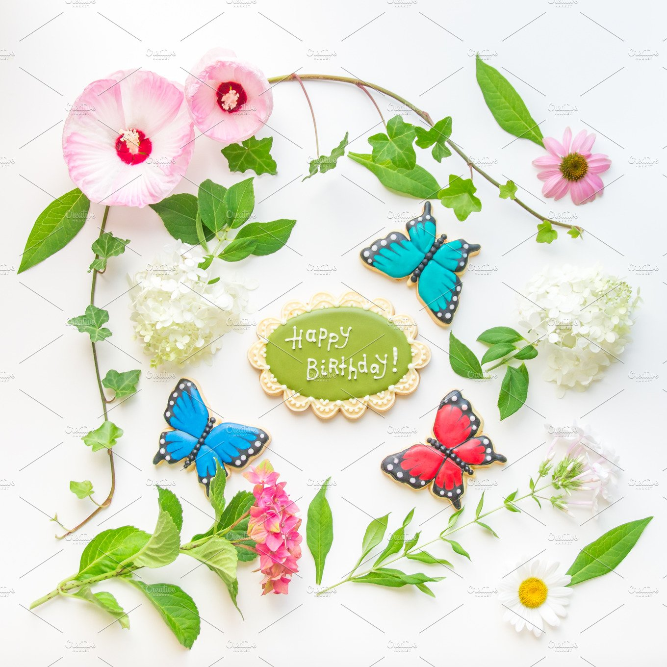 Floral Frame With Happy Birthday Abstract Photos Creative Market