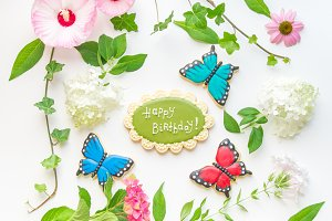 Floral frame with Happy Birthday