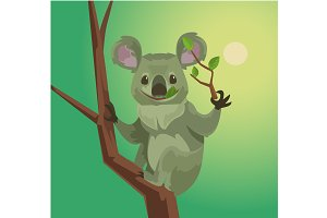 Cute koala character eating