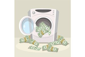 Laundering of money in washer