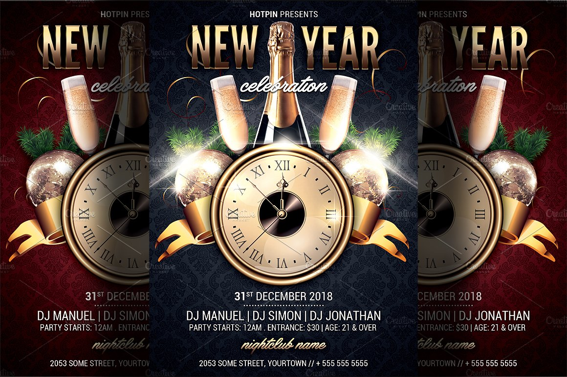 New year party flyer template flyer templates creative market saigontimesfo