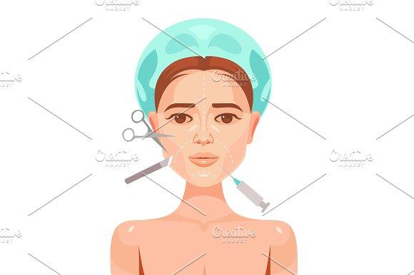 Plastic surgery. Woman face - Illustrations