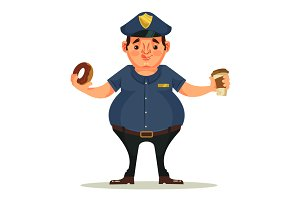 Fat police officer character eating