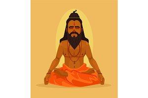 Meditating yogi man character