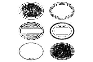 Grunge Oval Stamp Set