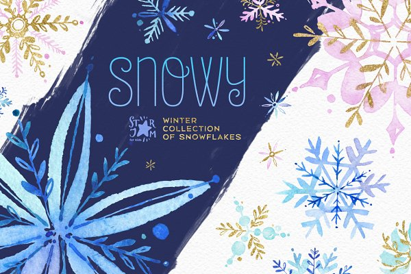Snowy. Holidays snowflakes