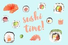 Sushi watercolor