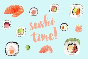 Sushi watercolor