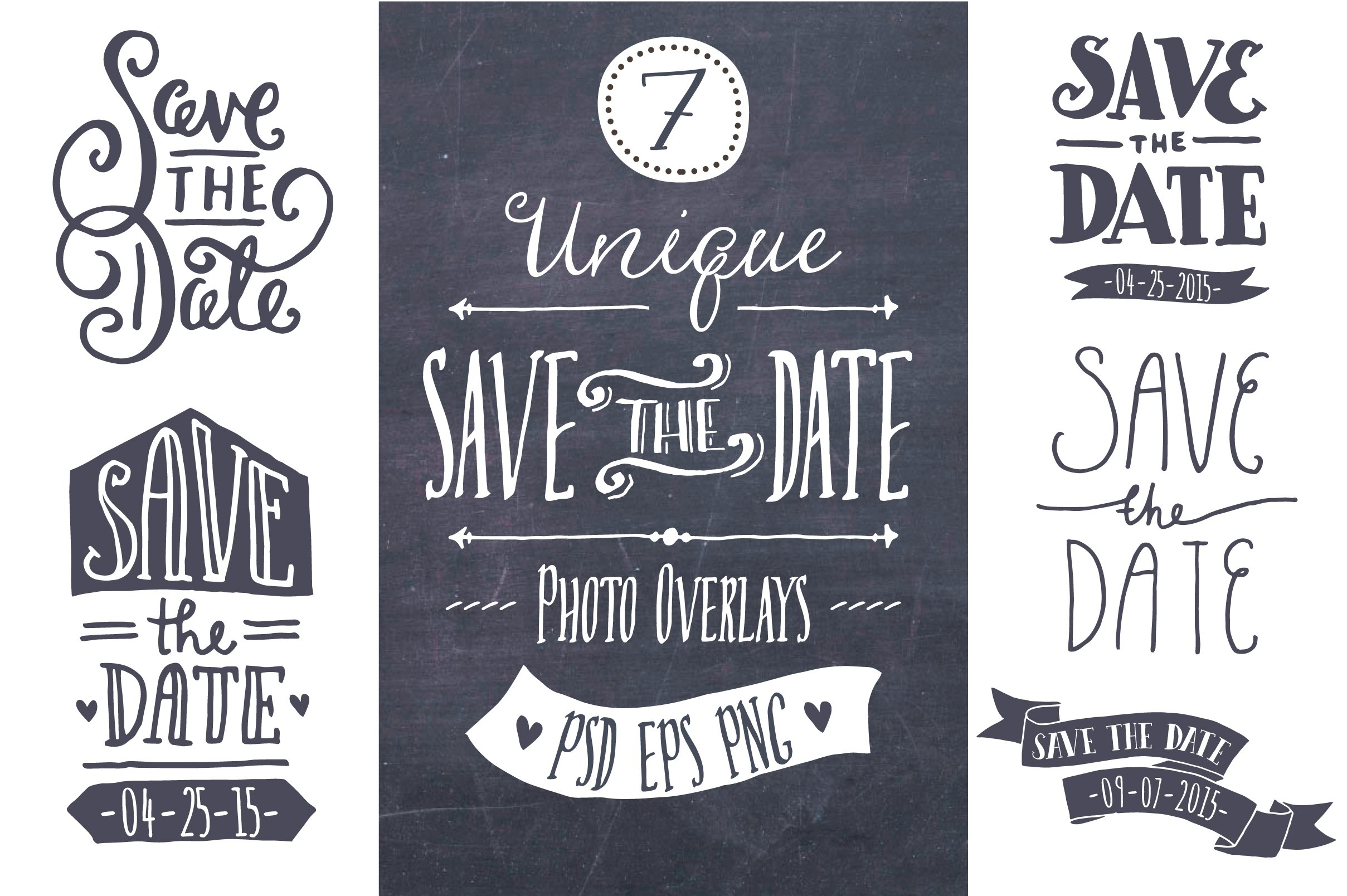 Attractive Save the Date Overlays ~ Graphics ~ Creative Market QT45