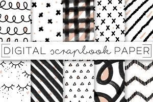 Black White Graphic Digital Paper