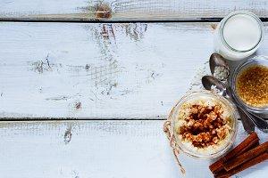 Jar of cooking rice pudding