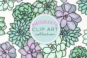 Succulents Clip Art Collection