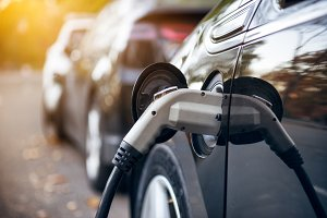 Electric car charging on parking