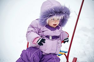 Baby for a walk winter