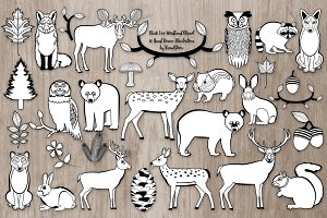 Black and White Woodland Animals