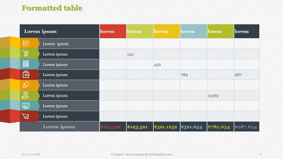 Creative tables pack 1 powerpoint presentation templates for Table design templates in html