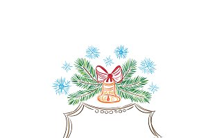 Christmas decor, sketch, vector