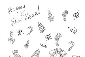 New Year set of icons, sketch