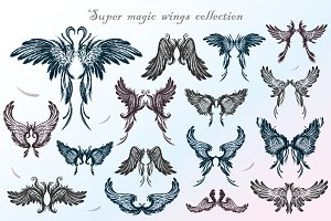Big set of angel wings,hand drawn