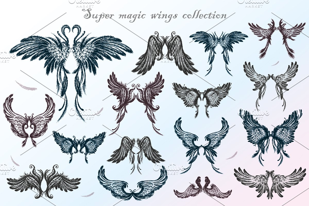 d4b32e35e3467 Big set of angel wings,hand drawn ~ Illustrations ~ Creative Market