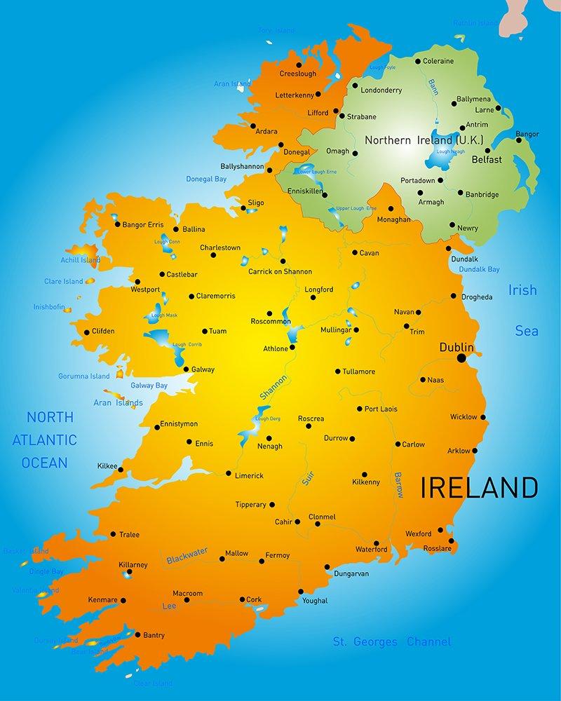 Country Map Of Ireland.Map Of Ireland Country Illustrations Creative Market