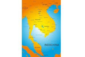 map of Indochina countries