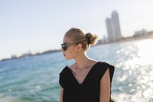 Blonde woman by the sea