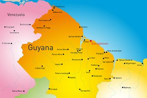 map of Guyana country