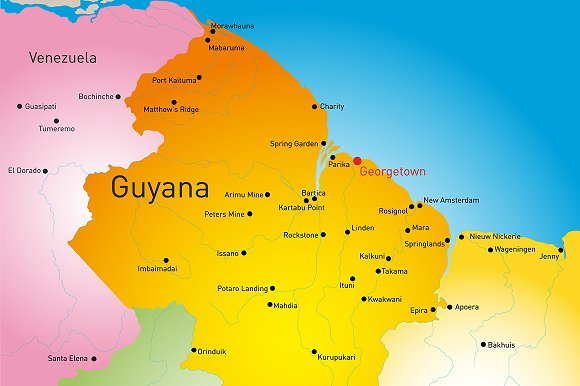 map of Guyana country ~ Illustrations ~ Creative Market