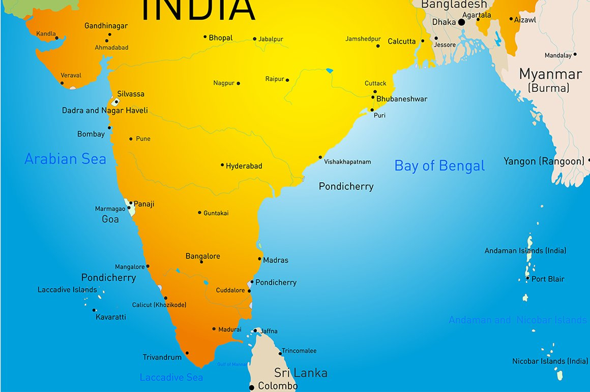 map of India country ~ Illustrations ~ Creative Market