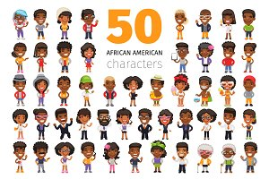 African American Characters Set
