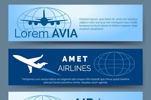 Airlines company headers set