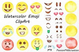 Watercolor Emoji Clipart