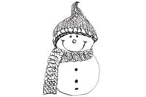 Snowman doodle sketch. Winter icon