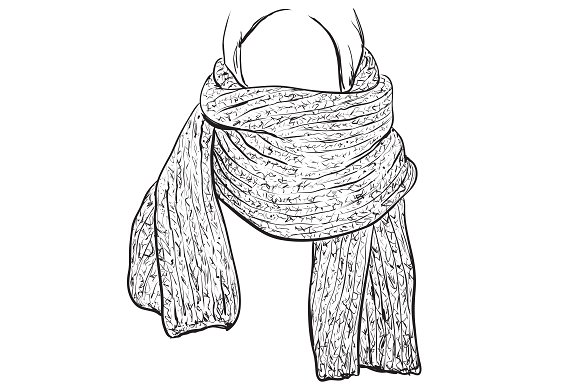 Knitted scarf. Accessories sketch - Illustrations