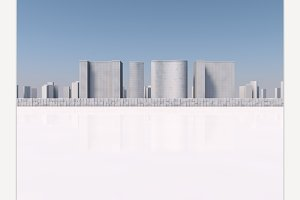 White skyscrapers 3d rendering
