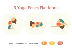 9 yoga poses flat icons pack 1