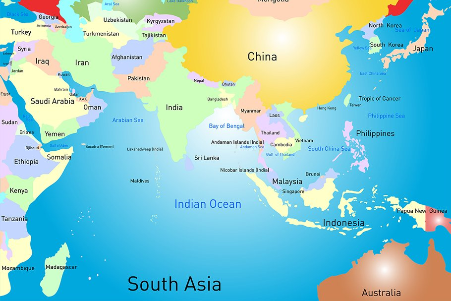 Map Of S Asia.South Asia Map