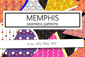 144 Memphis style seamless patterns