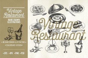 Vintage restaurant illustrations