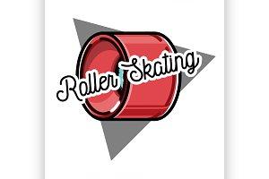 Color vintage roller Skates emblem