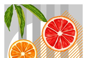 Poster with citrus fruits slices.