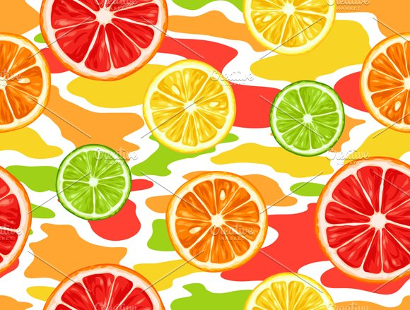 Patterns with citrus fruits slices. in Patterns - product preview 1