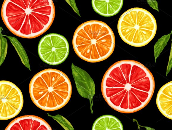 Patterns with citrus fruits slices. in Patterns - product preview 2