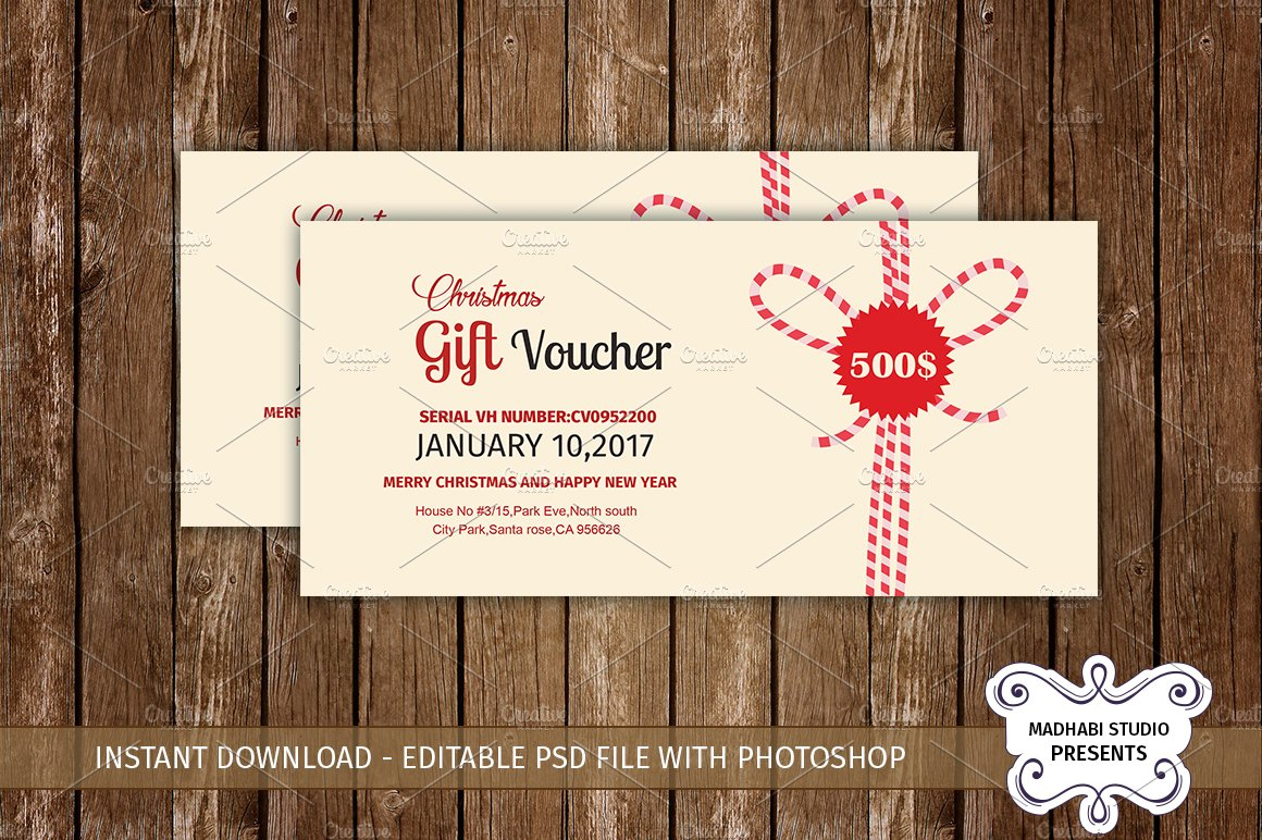 Multipurpose gift voucher template card templates for Hotel voucher design