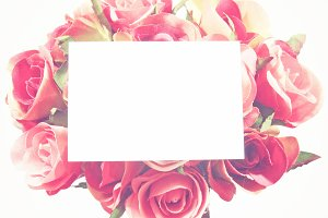 Blank card and rose