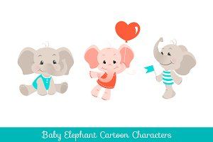 Baby elephant cartoon characters set